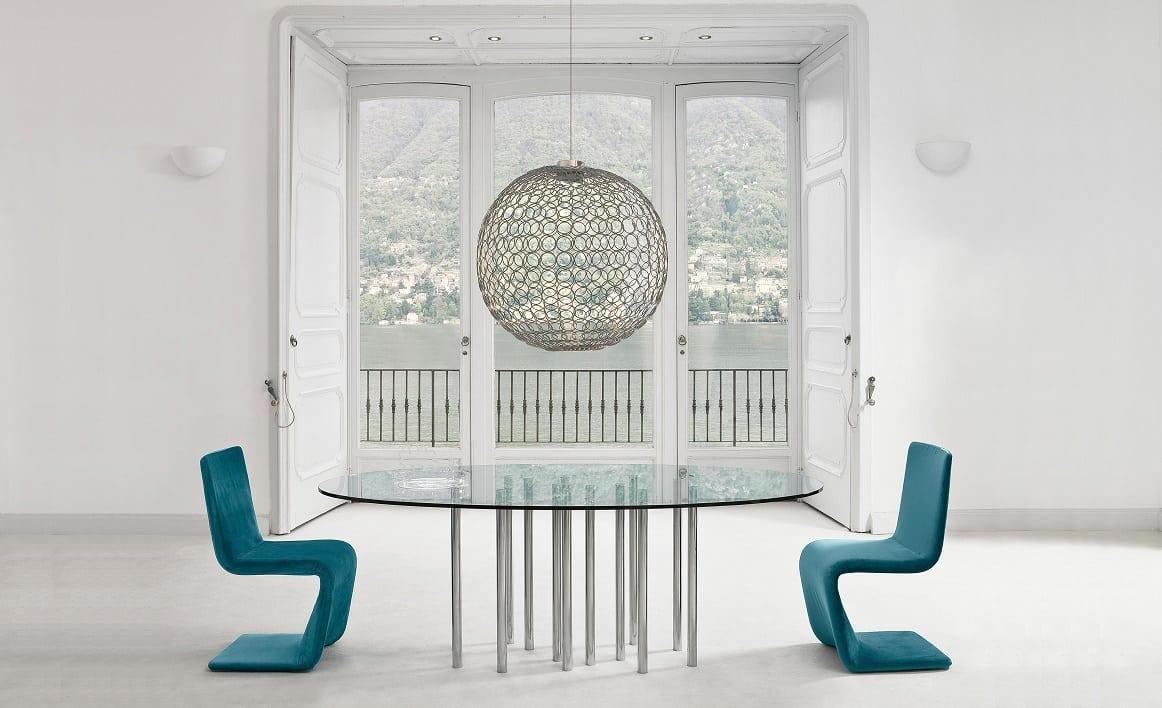 שולחן אוכל עגול זכוכית - Mille