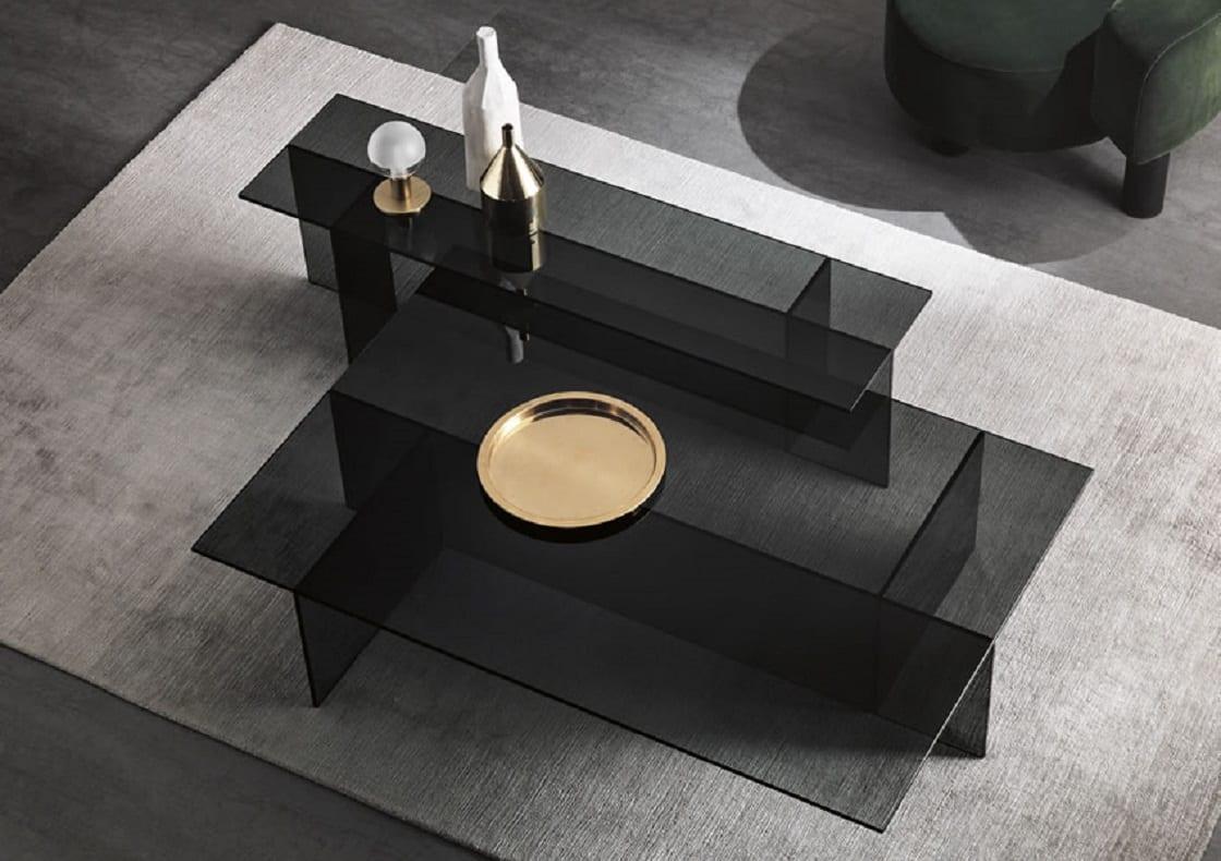 שולחן קפה זכוכית כהה