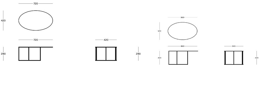 מידות שולחן סלון Eliptic