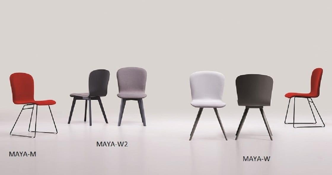 """כסא Maya מעוצב בקו רך ומוקפד . שילוב הומגני בין גב עץ , למושב וגב מרופדים בבדים לבחירה. ניתן גם לבחור את סוג הרגל בין עם מתכת או עץ .מידות: 45ס""""מ רוחב , 48 ס""""מ עומק , וגובה גב 86 ס""""מ"""